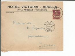 Lettre Suisse, Hôtel Victoria A. Forclaz Propriétaire Arolla VS  - Cossonay VD (19.7.1924) - Covers & Documents