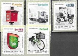 HUNGARY, 2021, MNH, POSTAL HISTORY,  V, VEHICLES,  TRUCKS, BICYCLES, LETTERBOXES,5v - Posta