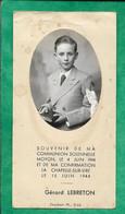 Moyon 04-06-1944 Souvenir De Communion Solennelle La Chapelle-sur-Vire 15-06-1944 Confirmation Gérard Lebreton 2scans - Devotion Images