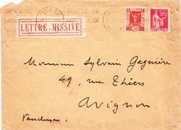 FRANCE  Lyon, 30 Avril 1937 Vers Avignon - Avec étiquette LETTRE MISSIVE - Covers & Documents
