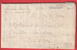 MARQUE MANUSCRIT SERVICE DU ROI VIDAUBAN VAR 1780 POUR LE BROC ALPES MARITIMES 1780 TEXTE DE VENCE - 1801-1848: Precursors XIX