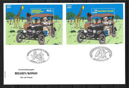 VERY RARE 2001 Joint/Commune Belgium And Congo, MIXED FDC WITH BOTH SOUVENIR SHEETS: Tintin. ONLY 130 COPIES: - Emisiones Comunes