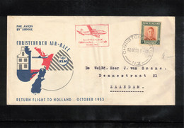 New Zealand 1953 KLM Flight Christchurch - Amsterdam - Briefe U. Dokumente