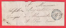 PARIS CACHET TAXE BUREAU F 15C 1859 POUR MONTMARTRE RECETTES REUNIES - 1849-1876: Classic Period