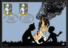 2001 Joint/Commune Belgium And Congo, OFFICIAL MIXED FDC SOUVENIRLEAF WITH BOTH  STAMPS: Tintin. - Emisiones Comunes