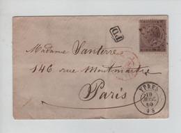 REF4289/ TP 19 S/L. Format CV LOS PTS 108 C.Ypres 19/4/1866 > Paris C.d'arrivée Griffe Encadrée PD - Postmarks - Points