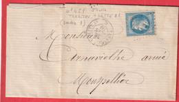 N°29 AMBULANT DE JOUR TARASCON A CETTE 1869 POUR MONTPELLIER - Railway Post