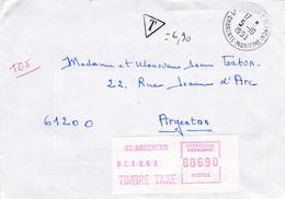 Envoi Taxé 6.90 Fr  1993 Argentan - Documents Of Postal Services