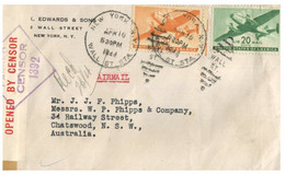 """(QQ 16) USA To Australia - Mail Posted With """" Mail Open By Censor """" (1944) - Cartas"""