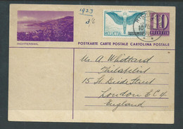 Switzerland, 10c Postal Card, Richterswil,  + 10c Adhesive , Used RICHTERSWIL 3.VI.38 > England - Stamped Stationery