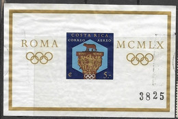 Costa Rica  1960   Sc#C313  Rome Olympics Souv Sheet  Used  2016 Scott Value $6 - Costa Rica