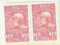 AUSTRIA 1910 Mi 166 Pair MH - Nuevos