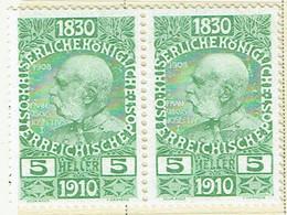 AUSTRIA 1910 Mi 164 Pair MH - Nuevos