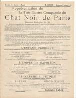 Programme De Tournée Pour 1895 , Compagnie Du CHAT NOIR DE PARIS, 2 Scans ,frais Fr 1.75 E - Programs
