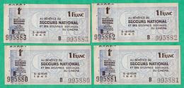 LOT DE 4 BILLETS DE NECESSITE - SECOURS NATIONAL - OEUVRES SOCIALES DU CINEMA - FEVRIER 1943 - Buoni & Necessità