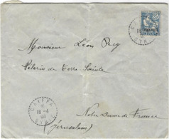 ENVELOPPE TIMBREE PALESTINE PELERIN TERRE SAINTE NOTRE DAME DE JERUSALEM CAIFFA SYRIE 1908 - Palestina
