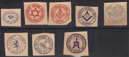 Old Grand Lodge Monogram / Advertisement / Paper Cutout , Symbol / Logo, Freemasonry, Freemason, Ship, Compass, - Publicités