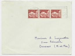MULLER 6FR ROULETTE BANDE DE 3 LETTRE PARIS 22.11.1955 - 1955- Marianne Of Muller
