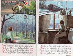 DC2195 - Ak Schöne Motivkarte Militaria Heimat Soldaten 2 Karten Eisenbahn Uniform - Patriottiche