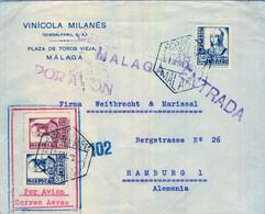 1938 , MÁLAGA - HAMBURGO , CORREO AÉREO , CENSURA MILITAR  , TRÁNSITO SALAMANCA - 1931-50 Briefe U. Dokumente