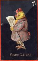 DC5741 - Ak Schöne Motivkarte Ostern Küken Vermenschtlichte Tiere Anzug Pfeife - Pascua
