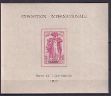 SOUDAN - EXPO 37 - BLOC YVERT N° 1 ** MNH - COTE 2015 = 12.5 EUR. - 1937 Exposition Internationale De Paris