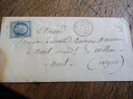1855 Lettre O R Origine Rural Silvanes Petit Chiffre  Timbre Empore Franc Non Dentele - 1849-1876: Classic Period