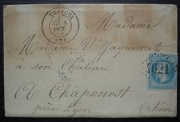 Trévoux Ain 1869 Gc 4021 Lettre Pour Madame  En Son Château à Chaponost Rhône - 1849-1876: Periodo Clásico