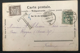 Suisse 1903 De Montreux Vers Royan (France) Taxée - Covers & Documents