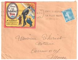 BAR Le DUC Meuse Lettre Etiquette Publicitaire Tailleur Confection Leroy Bus Journal Fumeur 30c Semeuse Yv 192 Ob 1926 - Andere