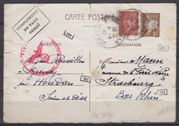 Seine & Oise : Carte Postale Entier 80c Pétain +1F20 Oblt CàDate A4 HOUDAN > STRASBOURG + Censures. - 2. Weltkrieg 1939-1945