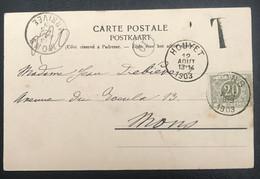 Belgique 1903 De Houyet Vers Mons Taxée - 1893-1907 Coat Of Arms