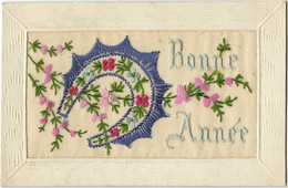 CPA FANTAISIE BRODEE FER A CHEVAL BONNE ANNEE N010 - Embroidered