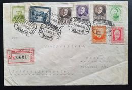 Spanien 1933, Reco Brief MiF MADRID Nach BRNO Tschechoslowakei - 1931-50 Storia Postale