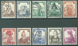 REICH - USED/OBLIT - 1935 - COSTUMES - Mi 588-597 Yv 547-556 - Lot 23586 - Used Stamps