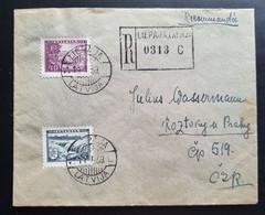 Lettland 1939, Reco Brief MiF LIEPAJA Nach PRAG - Lettonia