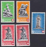SUISSE, 1940,  Don National Et Croix Rouge  (Yvert 349-350-351-351a-353) - Nuevos