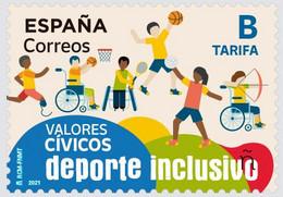 España. Spain. 2021. Valores Civicos. Deporte Inclusivo - 2011-... Unused Stamps