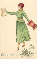 CPA Aquarellée Femme Lady Glamour Women Girl Mode Bonne Année Série 6 Illustrateur X. SAGER (2 Scans) - Otros Ilustradores