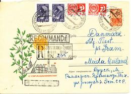 USSR Uprated Registered Postal Stationery Cover Sent To Denmark 14-5-1967 - 1960-69