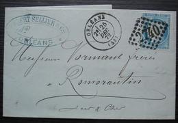 Orléans 1872 GC 2740 Gilbert Sellier & Cie Cachets Sur Papier à Lettre De Forestier & Broutin, Pour Romorantin - 1849-1876: Periodo Classico