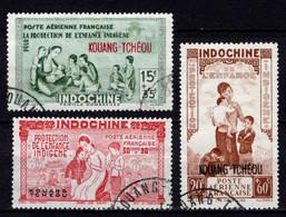 Kouang-Tcheou  - 1942 - Tb Indochine Surch -Protection De L' Enfance   -  PA N° 1/2/3 - Oblit - Used - Usati