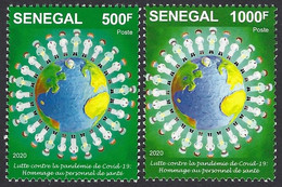 Senegal 2020 COVID-19 Corona Pandemic Pandemie Virus 500f 1000f Joint Issue - Enfermedades