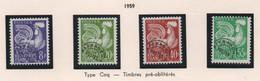 Lot De 4 Timbres Préoblitérés De 1959 (derniers En Anciens Francs) - Série Coq Gaulois - 1964-1988