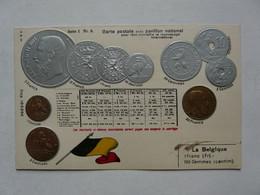 CARTE POSTALE AVEC PAVILLON NATIONAL - REPRODUCTION DE MONNAIES : BELGIQUE - Banks