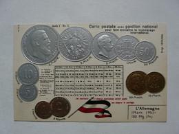 CARTE POSTALE AVEC PAVILLON NATIONAL - REPRODUCTION DE MONNAIES : ALLEMAGNE - Banks