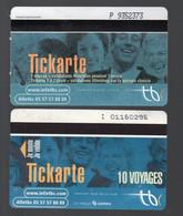 Bordeaux (33 Gironde) Lot De 2 Tickets De Tramway  TICKARTE Dont Un  Pour 10 Voyages (PPP29128) - Andere