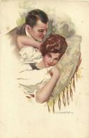 PC CPA C. MONESTIER, ARTIST SIGNED, ROMANTIC COUPLE, Vintage Postcard (b26587) - Monestier, C.