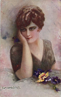 PC CPA C. MONESTIER, ARTIST SIGNED, GLAMOUR LADY, Vintage Postcard (b26591) - Monestier, C.