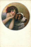 PC CPA C. MONESTIER ARTIST SIGNED LADY WITH HER DOG Vintage Postcard (b26593) - Monestier, C.